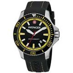 Wenger 0641.101 Men's Sea Force Yellow Accents Black Dial Silicon Rubber Strap Watch