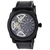 Fossil ME1121 Mens Machine Twist Black Skeleton Dial Black IP Black Leather Strap Watch