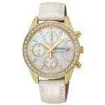 Seiko SNDX74 Women's Chronograph MOP Dial White Leather Strap Gold Tone Steel Watch