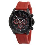 Fossil CH2871 Men's Retro Traveler Black Dial Red Rubber Strap Chronograph Watch