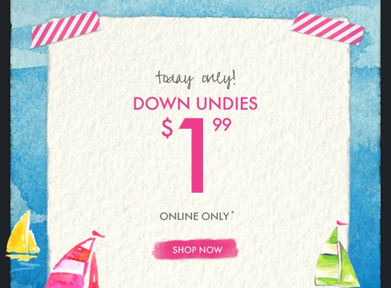 today only!                 DOWN UNDIES                 $1.99                                  ONLINE ONLY*                                  SHOP NOW