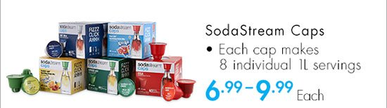 SodaStream Caps - Each cap makes 8 individual 1L servings 6.99 - 9.99 Each