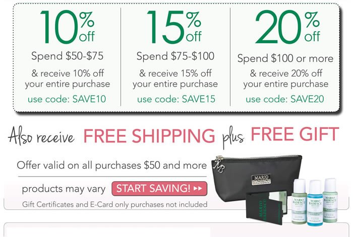 Save up to 20% off your order and also receive complimentary shipping in the continental U.S. Also included with your order is a complimentary gift with purchase using our new bags.