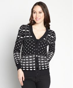 Black And White Stretchy Printed Cardigan