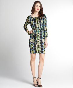 Multi-Color Floral Print Stretch Three-Quarter Sleeve Dress