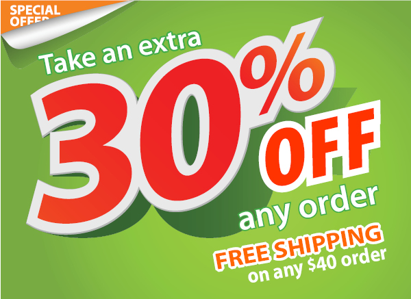 Take an Extra 30% Off Any Order - Plus, FREE Shipping on any $40 order