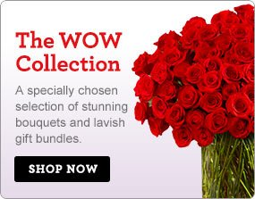 The WOW Collection A specially chosen selection of stunning bouquets and lavish gift bundles. Shop Now