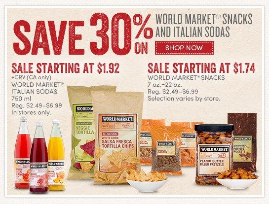 Save 30% on All World Market Snacks and Italian Sodas