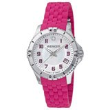 Wenger 0121.101 Women's Squadron MOP White Dial Pink Rubber Strap Watch