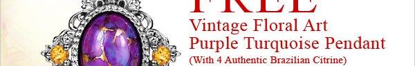 FREE Vintage Floral Art Purple Turquoise Pendant