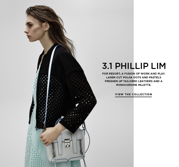 Lightness and leathers from 3.1 Phillip Lim For Resort, a fusion of work and play. Laser-cut polka dots and pastels freshen up tailored leathers and a monochrome palette.