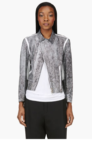 3.1 PHILLIP LIM Black Cracked Paint Lambskin Biker jacket for women