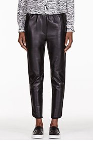 3.1 PHILLIP LIM Black Cropped Leather Trousers for women