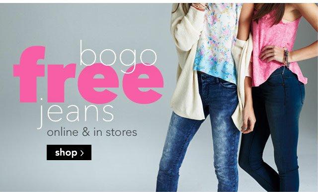 bogo free jeans online & stores.