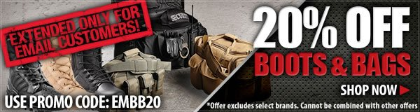 20 percent off Boots and Bags