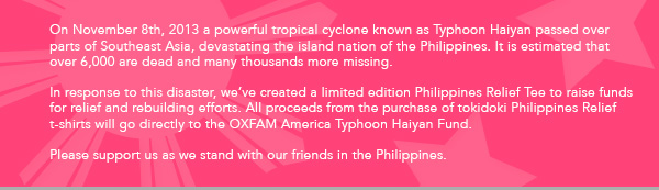 Please support us as we stand with our friends in the Philippines.