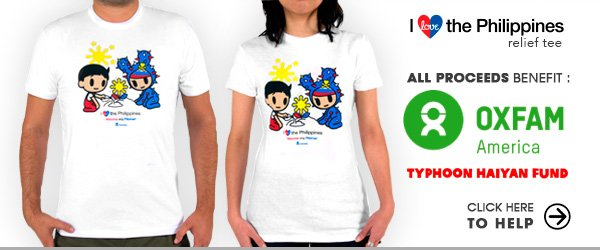 In response to this disaster, we've created a limited edition Philippines Relief Tee to raise funds for relief and rebuilding efforts. All proceeds from the purchase of tokidoki Philippines Relief t-shirts will go directly to the OXFAM America Typhoon Haiyan Fund. Please support us as we stand with our friends in the Philippines.