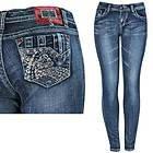 L.A. Idol Womens Red Jewel Blue Skinny Jeans