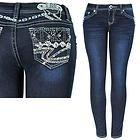 L.A. Idol Womens Sparkler Blue Skinny Jeans