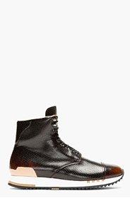 ALEXANDER MCQUEEN Black Punch-Hole High-Top Sneakers for men