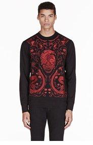 ALEXANDER MCQUEEN Black embroidered skull & snake sweater for men