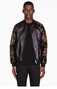 ALEXANDER MCQUEEN Black leather & Python Bomber for men