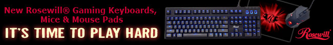 new rosewill gaming keyboards, mice and mouse pads. it's time to play hard.