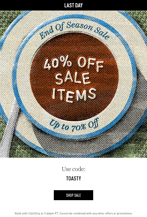 40% off sale items last day