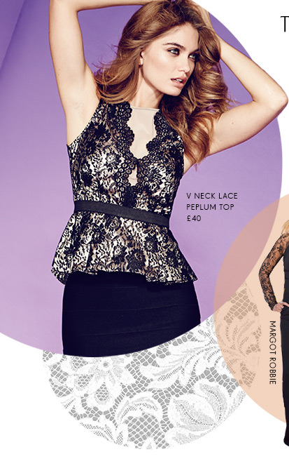 V Neck Lace Peplum Top