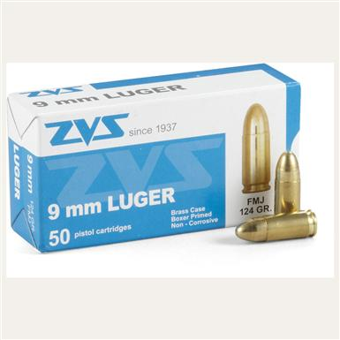 50 rounds ZVS 9mm Luger 124 grain FMJ Ammo