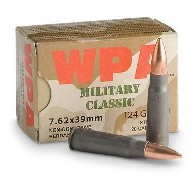 1,000 rds. 7.62x39mm 124 Grain FMJ Ammo