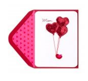 Bird With Sequin Heart Balloons Valentine's Day Card