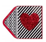 Glitter Heart on Stripes Valentine's Day Card