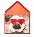 Pug With Heart Glasses Valentine's Day Card