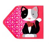 Die Cut Kitty With Heart Valentine's Day Card
