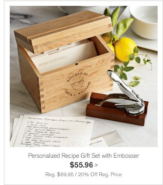 Personalized Recipe Gift Set with Embosser $55.96 -- Reg. $69.95 / 20% Off Reg. Price