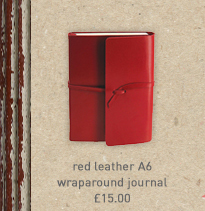 red leather a6 wraparound journal
