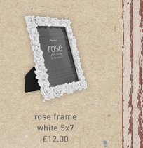 rose frame white 5x7