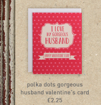 polka dots gorgeous husband valentine's card