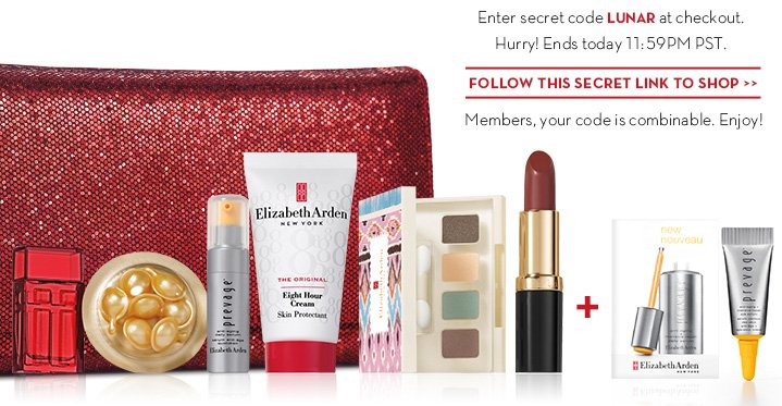 Enter secret code LUNAR at checkout. Hurry! Ends today 11:59PM PST. FOLLOW THIS SECRET LINK TO SHOP. Members, your code is combinable. Enjoy!