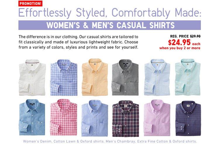 MEN AND WOMEN'S CASUAL SHIRTS