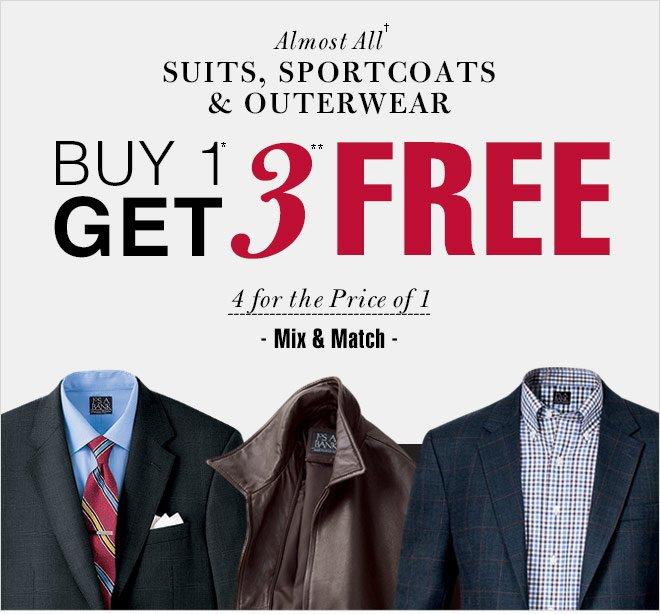 Buy 1* Get 3** FREE - Suits, Sportcoats & Outerwear