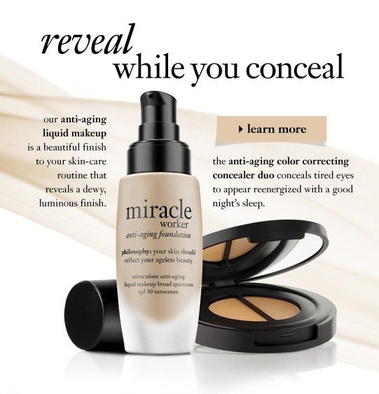 reveal while you conceal our anti-aging liquid make up is a beautiful finish to your skin-care routine that reveals a dewy, luminous finish. the anti-aging color correcting concealing duo conceals tired eyes to appear reenergized with a good night's sleep.