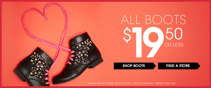All Boots $19.50 or Less
