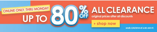 Up to 80% off all clearance