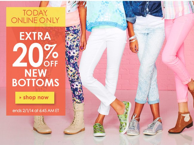 Extra 20% off new bottoms