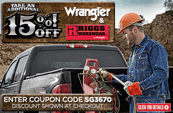 Sportsman's Guide's Take an Extra 15% OFF Wrangler® & Riggs®! Save BIG! Use Coupon Code SG3670 at Checkout...