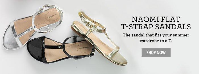 Naomi Flat T-Strap Sandals