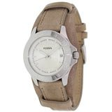 Fossil AM4459 Women's Retro Traveler White Dial Sand Brown Leather Strap Watch