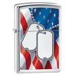 Zippo 28291 Classic Flag And Dog Tags High Polish Chrome Windproof Lighter